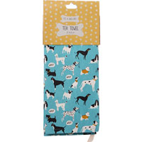 Lisa Buckridge Shruti Designs - It's A Dogs Life - Blue Tea Towel